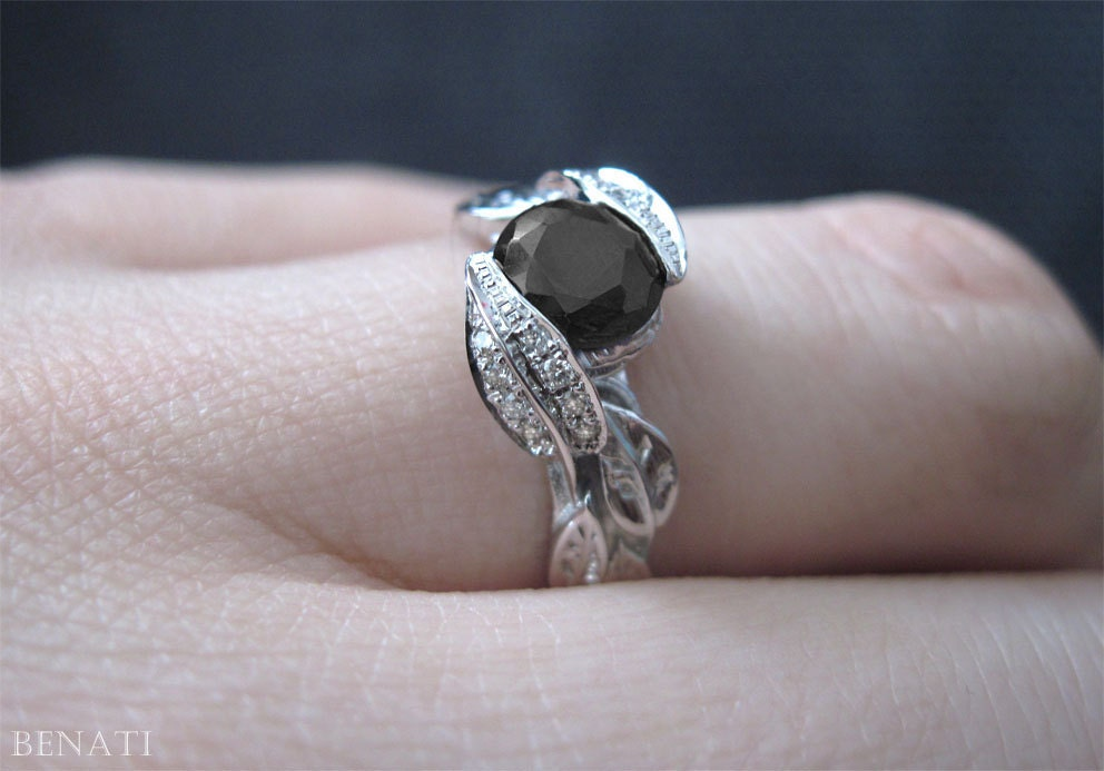 Black Diamond Leaf Engagement Ring Diamond Leaf by Benati on Etsy