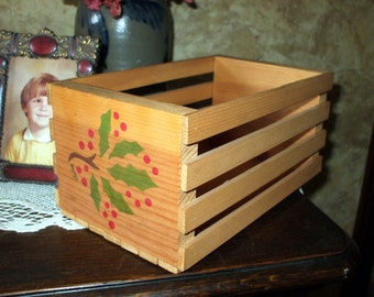 Vintage Christmas Slatted Crate Container Box Hand Painted Holly Rustic Country Primitive Shabby Signed