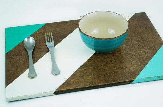 Dark wood and teal place mat rustic design wooden table