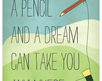 DIGITAL Affirmation art-A pencil and a dream-inspirational affirmation-instant download