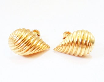 Tear Drop Earrings  Napier Screw Backs 1980s Fashion Ridged Earrings Clip Earrings Shell Vintage Napier Gold Tone Earrings