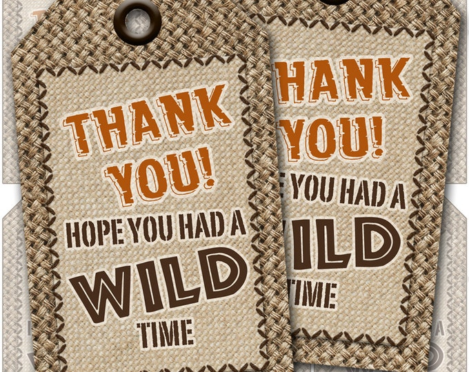 Jungle Safari Adventure Gift Tags - Thank you tags - Favor Tags - Instant Download - Print your own