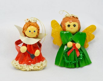 Vintage Christmas Angel Ornaments Gift Decoration Paper Mache Angels Red and Green