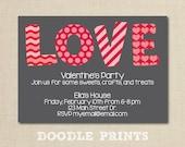 "Valentine's LOVE Invitation - Printable Valentine's Party Invitation Design - Valentine Birthday Invitation - Happy Valentines Card 5x7"""
