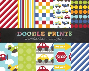 Digital Scrapbook Printable Paper Set - Transportation Design - Cars, Airplanes, Train. - Personal Use Only