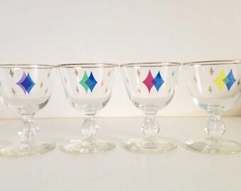 4 Retro Geometric Glasses/Barware