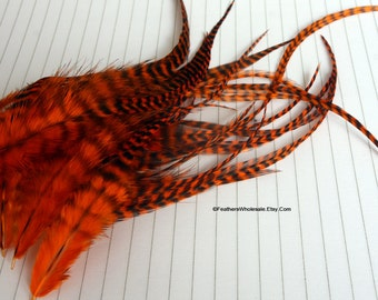 Orange Black Striped Feathers for Crafts Orange Grizzly Rooster Hackle Fly Tying Feather Craft Feathers Fire Orange Bright qty12 4-8 inch