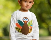 Boy Kids Turkey Shirt Thanksgiving Tshirt Personalized Letter Sibling Applique Autumn Fall Tee Made to Order 2T 4T 6 8 Autumn Holiday