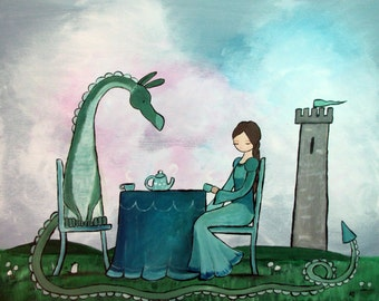 Princess and Dragon Art Print, Kids Wall Art Nursery Decor, Fairy Tale Storybook Children's Art, Little Girls Room Decor