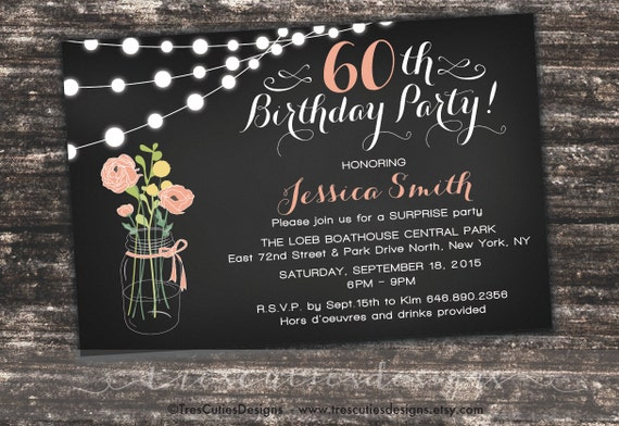Surprise 60th Birthday Invites Adult by TresCutiesDesigns ...