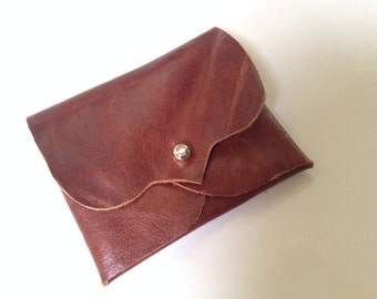Chestnut Brown Leather Business/Debit Card Wallet or Just a Cute Pouch. Silver Coloured Rivet Closure. Eco Friendly.