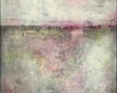 "Abstract Art Print: Mixed Media print, Vintage Inspired Art, Wall Art, Contemporary print, 5x7, 8x10 or 11x14 fuschia purple green ""Wistful"""