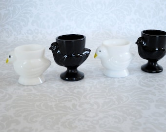 Vintage Glass Egg Cups  -  Opalex Glass Chick Hen Egg Cup Holders  -   Rooster Chicken Hen Eggcups or Votives