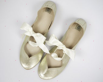Heart Shaped Soft Gold Leather Handmade Ballet Flats