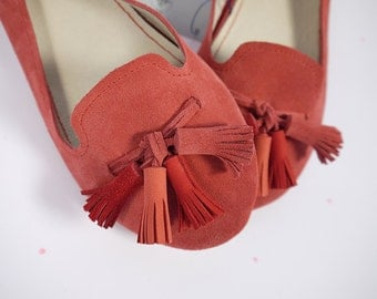 The Loafers Shoes in Geranium Red Suede and Matching Red Tassels - Handmade Leather Shoes