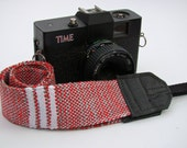 Skinny Red, Grey, and White Striped Woven Cotton DSLR Camera Strap, #431R