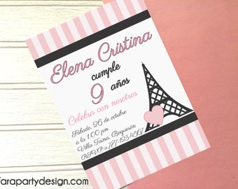 Eiffel Tower Party Collection- Printable Invitation by Fara Party Design