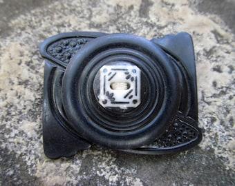 Vintage Bakelite Button and Belt Buckle Brooch / OOAK Handmade