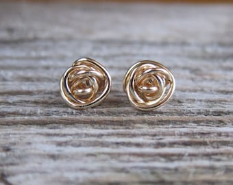 Knot stud earrings. 14k Gold filled or solid gold post earrings. Bridesmaid earrings. Sale!