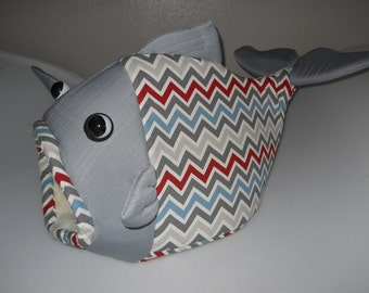 Fish Shaped Pet Bed  Gray, blue, red Chevron Patterned