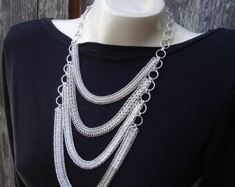 Tiered European Weave Sterling Silver Chainmail Necklace