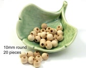 Unfinished Natural 10mm Round Wood Beads - 20 pieces