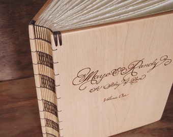 Custom Wedding Guest Book - wood guestbook personalized  engraved white natural elegant - made to order