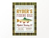 Vintage Fishing Invitation - Printed or Digital Fishing Party Invitation by 505 Design, Inc
