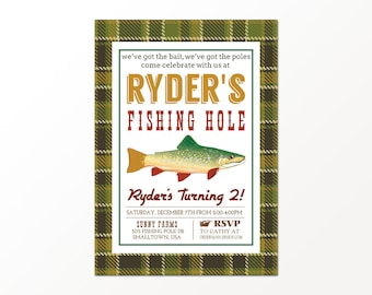 Vintage Fishing Invitation - Printed or Digital Fishing Party Invitation by 505 Design, Inc