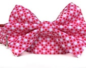 Red & Pink Dog Collar and Bow Tie / Polka Dot Dog Bow Tie / Bow Tie Dog Collar / Collar with Bow / Red Pink Polka Dot Collar