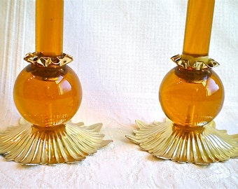 Lucite Candlesticks Amber Harvest Gold Mid Century Candleholders Holiday Amber Candles 1960s 1970s Thanksgiving