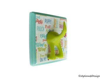 Leash Hook - Single Tail - I Heart Dogs - Personalize with Optional Letter Tiles