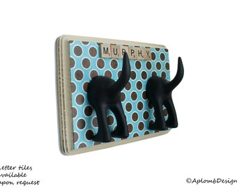 Dog Leash Holder - Double Tail - Retro Blu Circles - Personalize with optional letter tiles