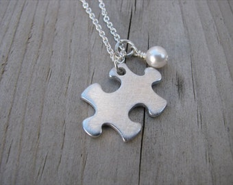 Brushed Silver Puzzle Piece Necklace -with an accent bead of your choice