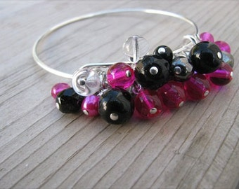 Hot Pink, Black Bracelet- Beaded Bangle Bracelet- Adjustable Bangle Bracelet with Cluster of Glass Beads- Hot Pink, Black, Clear