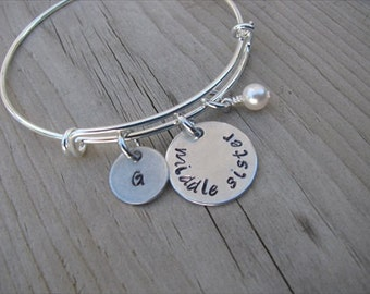 "Middle Sister Bracelet - hand-stamped ""middle sister"" Bracelet with initial charm and with an accent bead in your choice of colors"