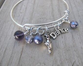 "Dance Bangle Bracelet- Adjustable Bangle Bracelet with ""Dance"" charm, ballet shoe charm and glass beads in purples"