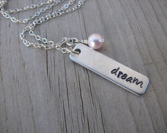 "Inspirational Necklace-brushed silver rectangle with ""dream"" and an accent bead of choice- Personalized Gift"