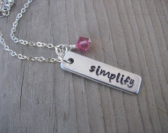 """Inspirational Necklace-brushed silver rectangle with """"simplify"""" and an accent bead of choice- Personalized Gift"""
