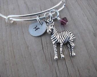 Zebra Bangle Bracelet- Adjustable Bangle Bracelet with Hand-Stamped Initial, Zebra Charm, and accent bead- Hand-Stamped Bracelet
