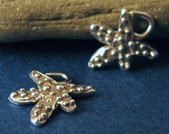 2 Sterling Silver Artisan Starfish Charms Handcrafted - Dotted Beachy Sea Stars AC128
