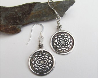 Sterling Silver Lotus Earrings, Lotus Blossom Earrings, Yoga Jewelry