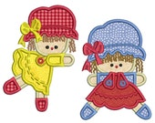 RAG DOLLS - Machine Applique Embroidery - 2 Patterns in 3 Sizes - Instant Digital Download