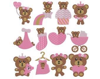 BABY BEARS GIRL - Machine Filled Embroidery - Instant Digital Download