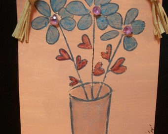 Hanging Miniature Flower Painting ~ Primitive Hanging Ornie