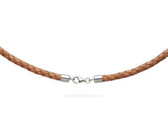 """5mm Natural Braided Bolo Leather Cord Necklace with 925 Sterling Silver Clasp 14"""" inches - 36"""" inches, You choose length. LCB0500NATS"""