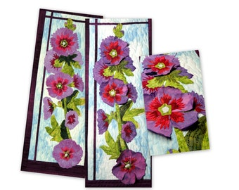 Hollyhock Applique Quilt Pattern with 3-D optional petals