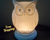 What A Hoot White Porcelain Accent Lamp Night Light - Home Decor