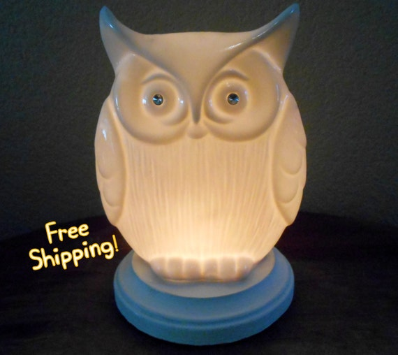What A Hoot White Porcelain Owl Accent Lamp Night Light - Home Decor