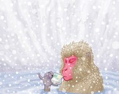 SNOW MONKEY TEA giclee print